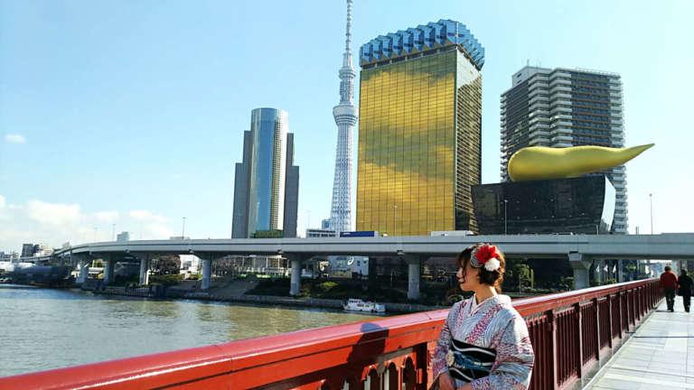 浅草から着物で隅田川クルージングを♪