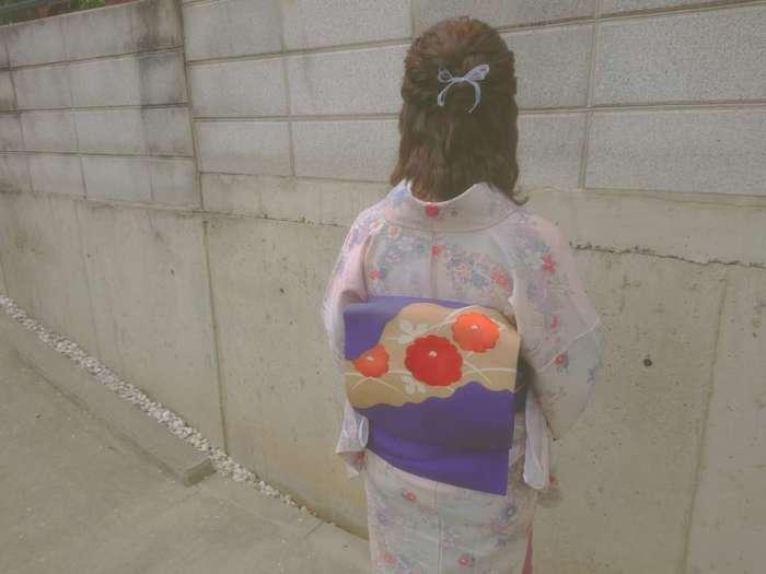 嵐山店紫色の名古屋帯とアンティーク着物