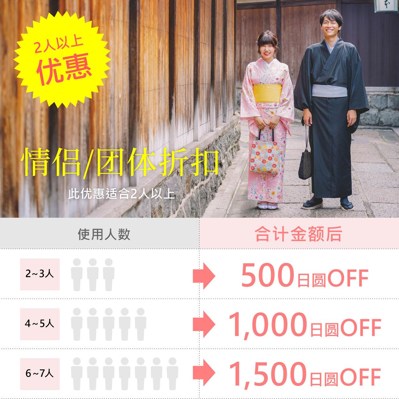 情侣/团体折扣 Kyoetsu kimono rental