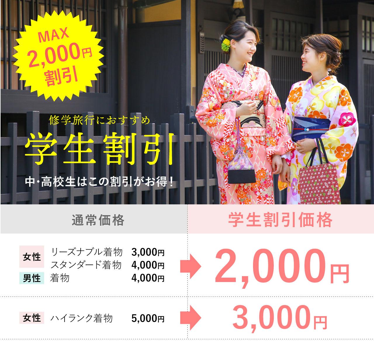 京都浅草 着物レンタル 京越 学生割引