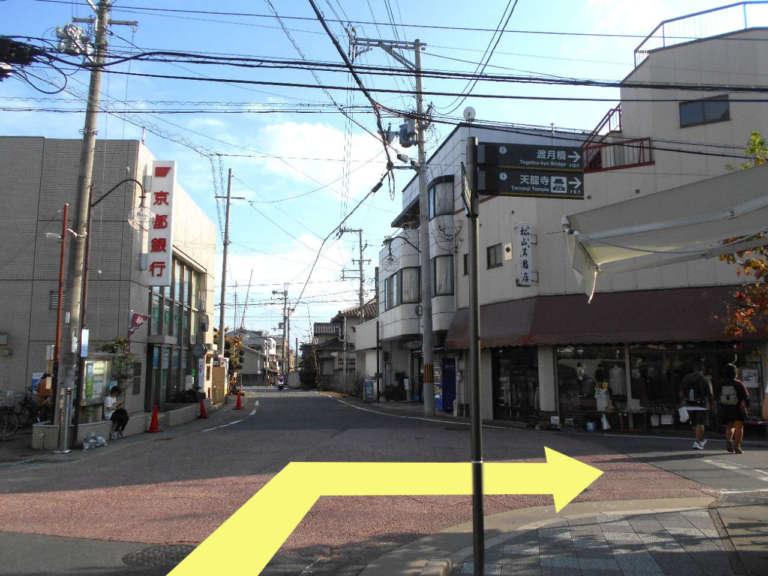 京都銀行嵯峨支店前