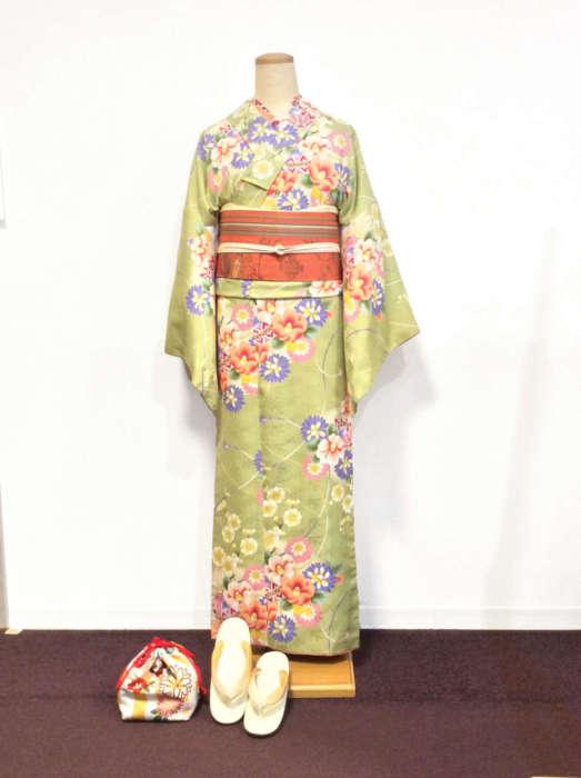 桜柄着物コーデ