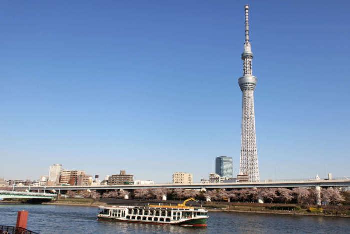 隅田川を走るクルーズ船と、東京スカイツリー