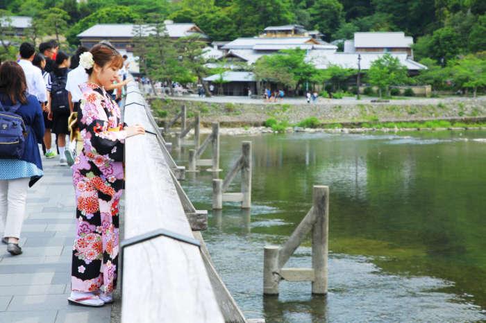 渡月橋欄干と着物姿の女性