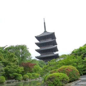東寺五重塔と着物姿の女性